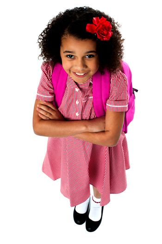 Cute school girl, high angle shot.