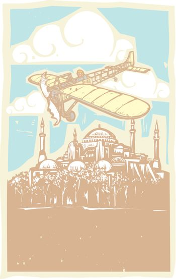 Woodcut style image of the Greek Orthodox church turned Mosque in Istanbul Turkey with a vintage airplane flying over it.