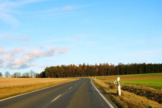 Country road in the Hunsrück in November