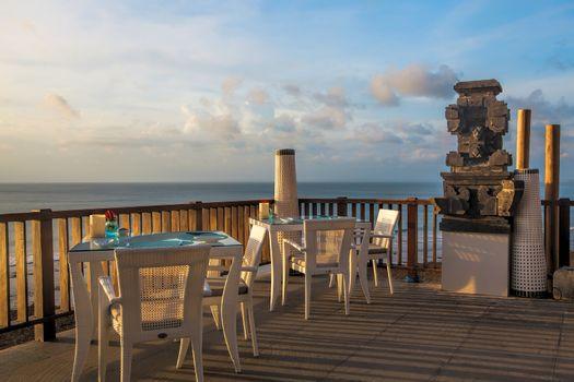 Beautiful modern terrace lounge in the sunset