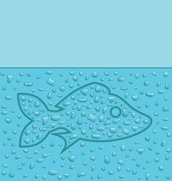 illustration of a fish created with water drops