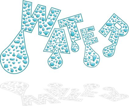 text illustration created with water drops