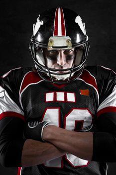 american football player with intense gaze
