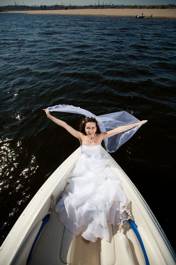 bride on the boat