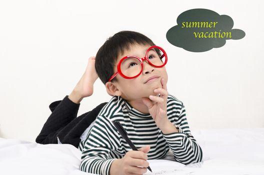 Hard study student thinking summer vacation