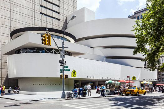 NEW YORK, USA - JULY 7, 2011: The Solomon R. Guggenheim Museum of modern and contemporary art in New York, USA. Designed by Frank Lloyd Wright museum opened on October 21,1959.