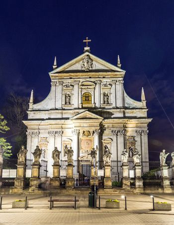 Church of Saints Peter and Paul in Old Town district by night