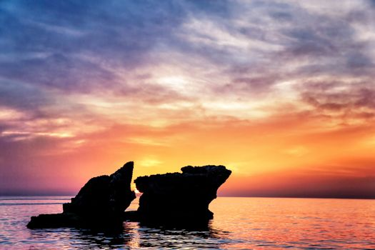 Beautiful famous Lebanese rocks in sunset light, gorgeous landscape, peaceful sea in the evening, beauty of exotic nature, summer vacation concept