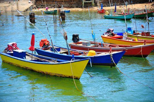 colorful boats in the sea, Koh Larn at pattaya Thailand
