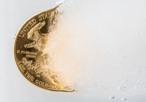 Golden Eagle coin emerging from deep freeze