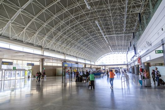 EL MATORRAL, SPAIN - MARCH 28, 2013: arrival hall at  Airport of Fuenteventurain El Matorral, Spain. The airport was opened officially on 14 September 1969 and has the capability to handle 5 Mio passengers per year.