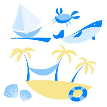 illustration set of icons with vocation and sea themes