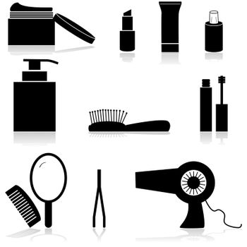 Icon set showing different beauty items such as creams, a mirror and a hairdryer