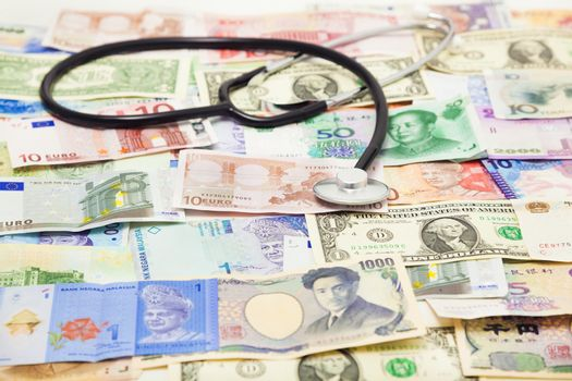 using a stethoscope to diagnose the situation of global Market