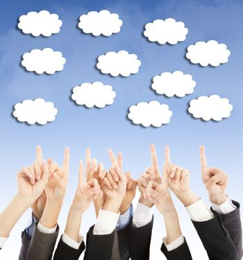 group of business people hands point upward cloud