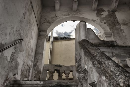 Arch and stairs to the roof of Doxi Stracca Fontana Palace about 1760 A.D. in the old town of Gallipoli (Le)) in the southern Italy