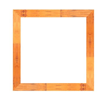 Brown wood frame isolated on white background.