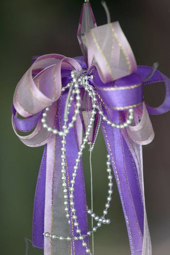 Purple bow for the gift box.