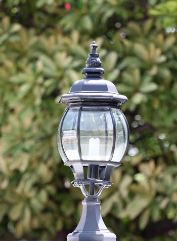 Black lantern to decorate gardens.