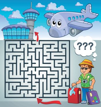Maze 3 with travel thematics - eps10 vector illustration.