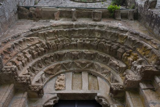archivolts and voussoir in the romanesque monatery of Carboeiro in the province of Pontevedra Spain