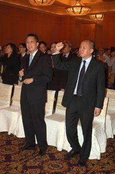 jakarta, indonesia-september 21, 2010: AXA Financial Indonesia bosses attending AXA spirit day at mulia hotel senayan, jakarta-indonesia.