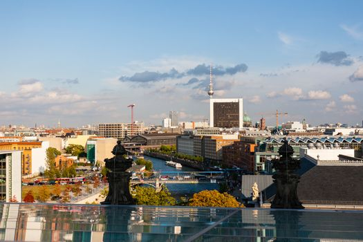 Wide angle cityscape view of Berlin and the tv tower at the bottom in Germany