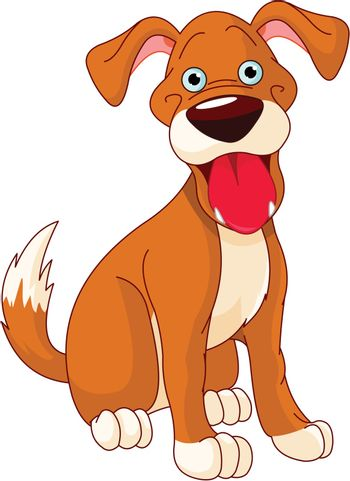 Illustration of a cute funny smiling dog