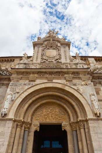 Main entrance general view of the romanesque San Isidoro church in the city of Leon Spain.This is  a fine and singular piece of romanesque art famous all over the world.