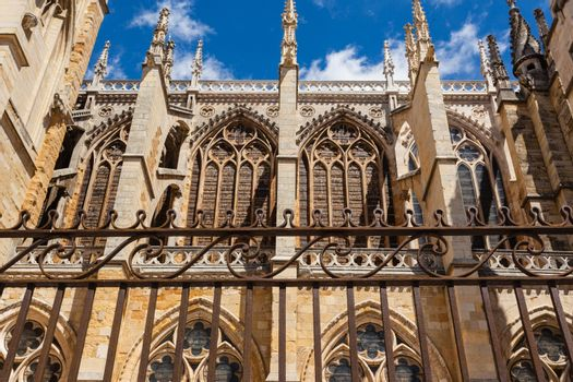 side view of flying buttresses with forefront forge  in the cathedral of Leon Spain