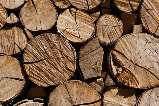 horizontal pile of logs in a small village called Lois in the north of the povince of Leon in Spain