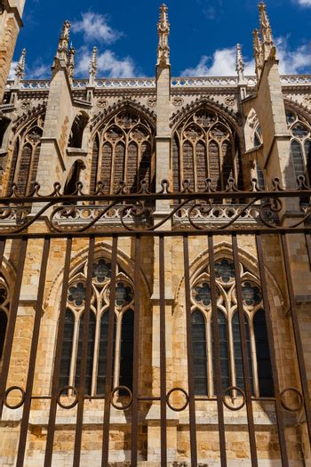 vertical side view of flying buttresses and  forefront forge  in the cathedral of Leon Spain