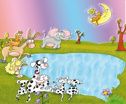 Lago con famiglia dei cani dalmati