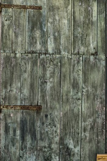 An old green painted wooden door with woodworm holes and rusty hinges