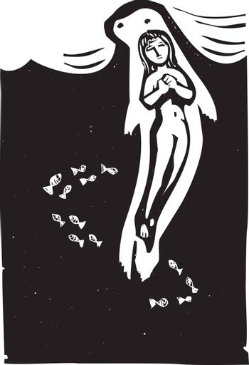 Woodcut style image of the Celtic mythical selkie in the ocean.