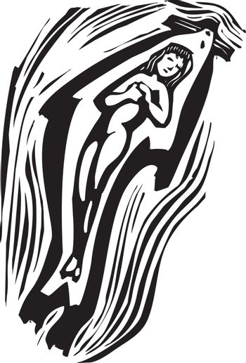 Woodcut style image of a swimming mythical Celtic selkie.