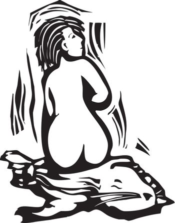 Woodcut style image of a mythical celtic selkie shedding her seal's skin.