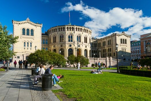 OSLO, NORWAY - SEPTEMBER 5: The Storting is the supreme legislature of Norway, located in Oslo pictured on September 5, 2012. Parliament was established by the Constitution of Norway in 1814 and is designed by Emil Victor Langlet.