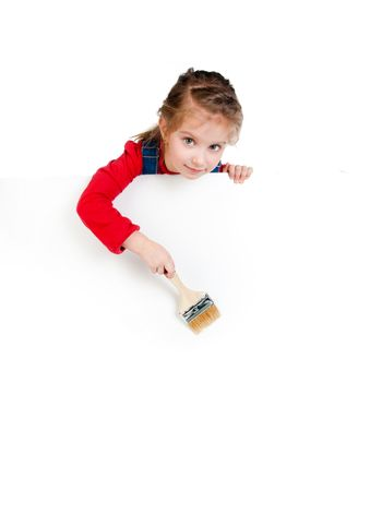 little girl with a brush and white banner