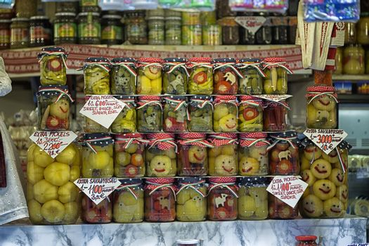 Smiling pickles in the main market in Budapest (Hungary)