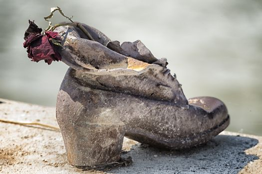 Rose on shoes on the Danube Bank in Budapest