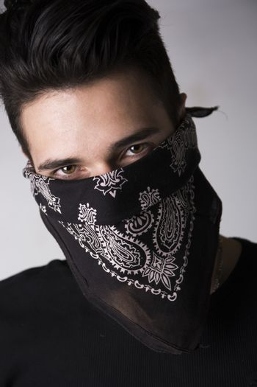 Man with his face hidden behind a bandanna