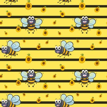 A seamless design with smiling bees