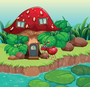 An ant near the red mushroom house