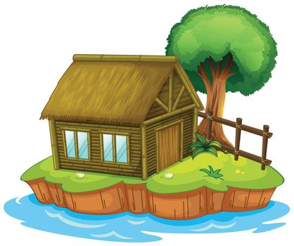 Illustration of a house and a tree on an island
