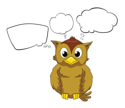 Illustration of a thinking owl on a white background
