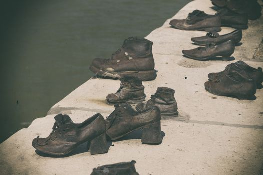 Iron shoes on the Pest side of the danube honouring the jews killed during the world wide war II