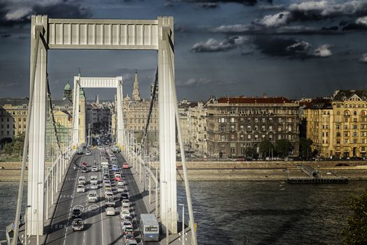 A  view of the Danube river in Budapest in Hungary: the elizabeth bridge