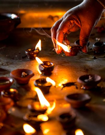 Burning candles in the Indian temple.