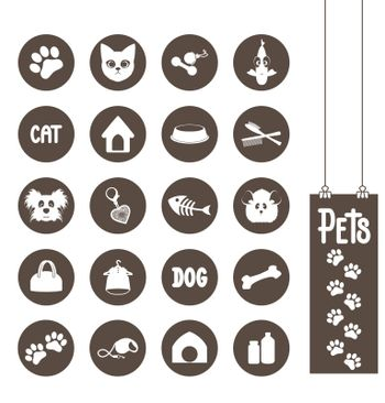 Pet animal icons to their needs